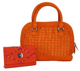 Fino Cane Woven Bag Soft PU Rainbow Decoration Purse Value Pack 1027-093/H1021 - Orange