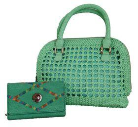 Fino Cane Woven Bag Soft PU Rainbow Decoration Purse Value Pack 1027-093/H1021 - Green