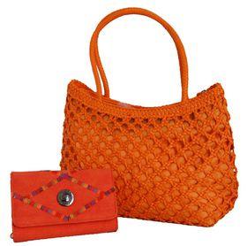 Fino Cane Woven Bag Soft PU Rainbow Decoration Purse Value Pack H1023/1027-093 - Orange