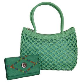 Fino Cane Woven Bag Soft PU Rainbow Decoration Purse Value Pack H1023/1027-093 - Green