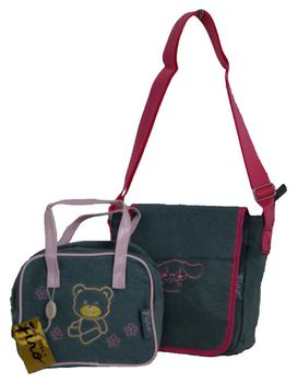 Fino Pre-Teens Two-Tone Denim Duo Bag Set -SK-CA8880/GH /SK8879H/HO