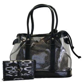 Fino 2 in 1 Transparent Bag & Jacquard Purse Value Pack 5512/HE/M28-093/0395 - Black