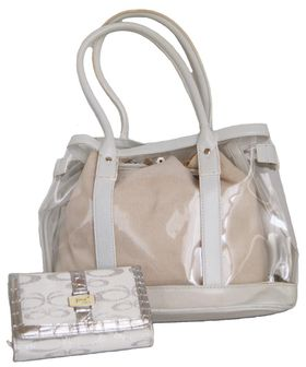 Fino 2 in 1 Transparent Bag & Jacquard Purse Value Pack 5512/HE/M28-093/0395 - White