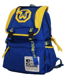 Fino Wolf Horse Laptop Backpack K22 - Blue & Yellow