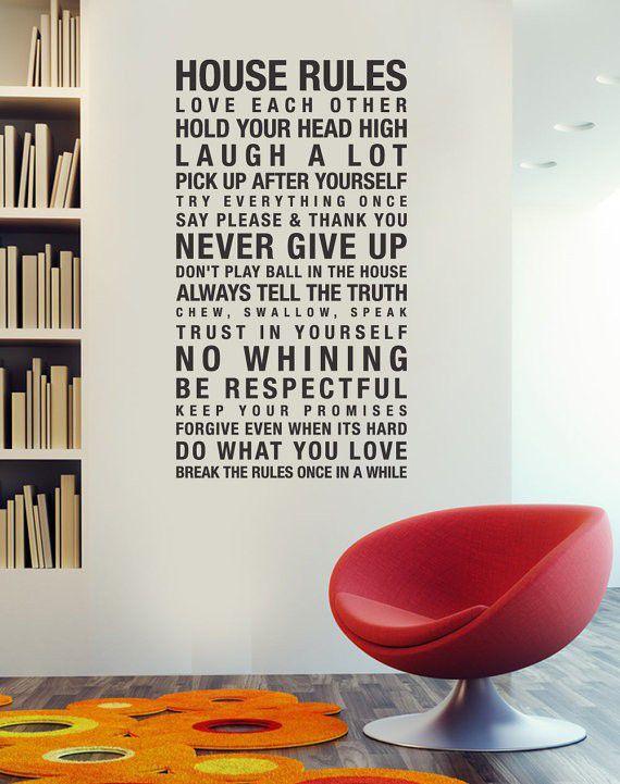 Bedight Wall Art Bedight Love Each Other House Rule Vinyl Wall Art ...