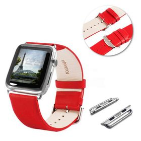 Tuff-Luv Genuine Leather Wrist Watch Strap Band and Connector for Apple Watch Strap 42mm - Red