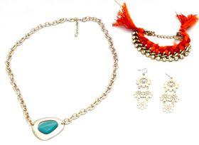 Fred Tsuya Turquoise Stone Jewellery Set
