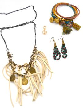 Fred Tsuya Natural Leather Tassel Jewellery Set