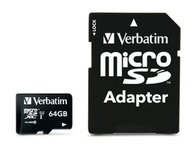 Verbatim 64GB Premium 300x Micro SD Card with Adaptor