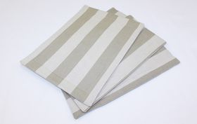 Balducci - Earthstone Placemats - Set Of 6 - V Stripe and Khaki