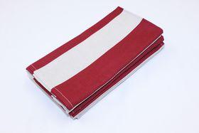 Balducci - Earthstone Napkins - Set Of 6 - V Stripe & Red