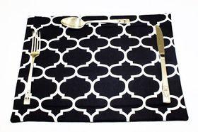 Balducci - 100% Polyester Amboise Design Placemats - Set Of 6 - Black