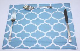 Balducci - 100% Polyester Amboise Design Placemats - Set Of 6 - Duck Egg