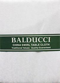 Balducci - China Swirl White Tablecloth - 6 Seater