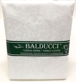 Balducci - China Swirl White Square Tablecloth - 6 Seater
