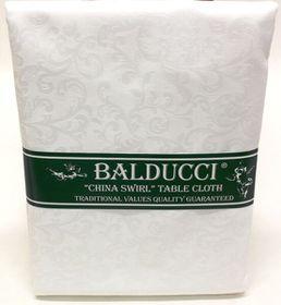 Balducci - China Swirl White Round Tablecloth - 6 Seater