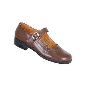 Toughees Pearl Ladies Basic Buckle School Shoes - Brown
