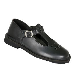 Toughees Melissa Girls Buckle School Shoes - Black