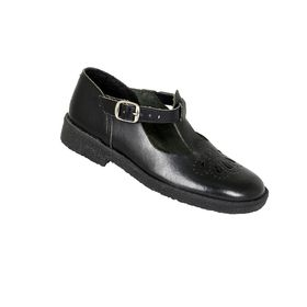Toughees Betty Girls Buckle School Shoes Genuine Leather - Black