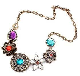 Urban Charm Boldly Glam Antique Bronze & Crystal Decorative Statement Necklace