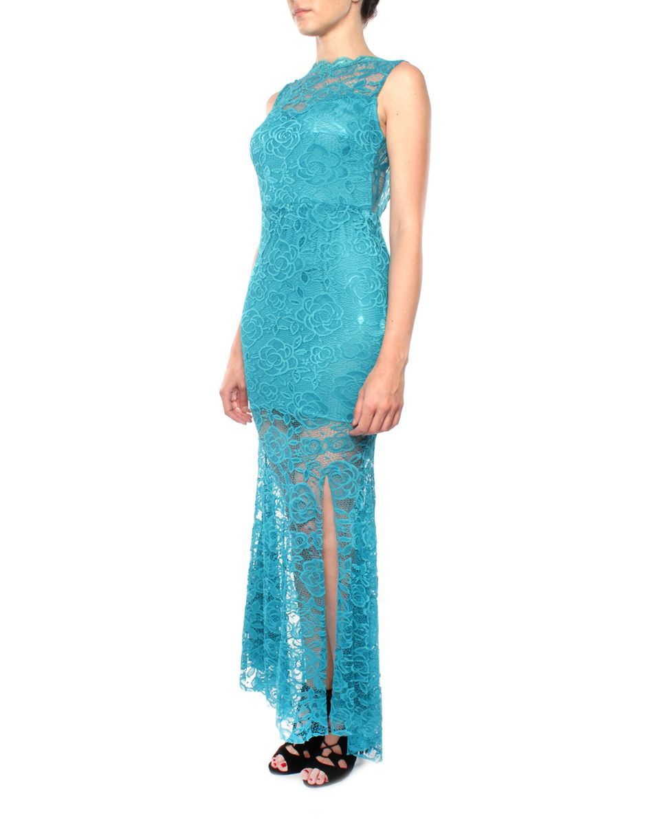 Snow White Lace Scalloped Open-back Evening Gown - Teal | Buy Online ...