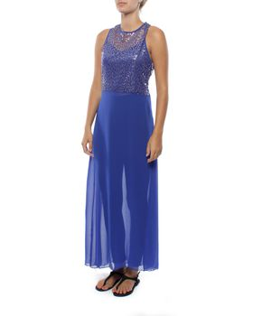 Snow White Sparkle Chiffon Legging Sarong Dress - Blue