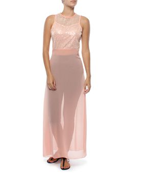 Snow White Sparkle Chiffon Legging Sarong Dress - Dusty Pink