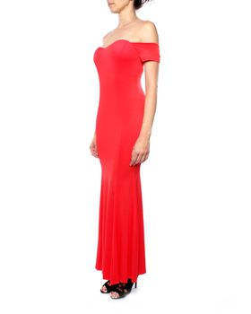 Snow White Elegant Off-Shoulder Maxi Fishtail Evening Gown - Red