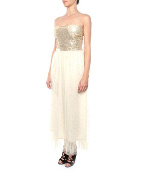 Snow White Strapless Glitzy Sweetheart Gown - Champagne (Size: M/L)