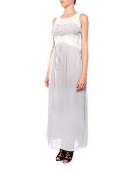 Snow White Vintage Lace Bodice Evening Gown - Grey/White