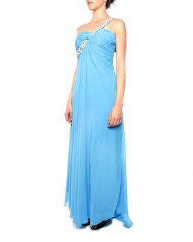 Snow White Diamante Sash Sweetheart Evening Gown - Lake Blue