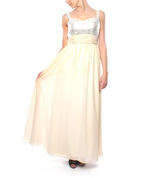 Snow White Sequin V-Neck Evening Gown - Champagne