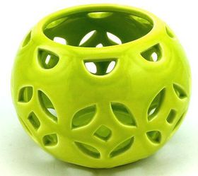Pamper Hamper - Ceramic Candle Holder - Oval Green
