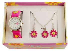 Cool Kids Flowers Watch & Jewellery Set - Pink