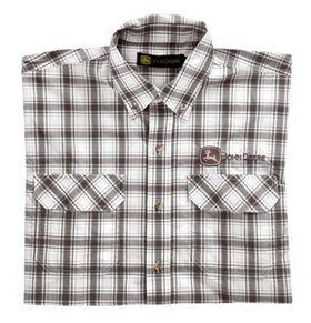 John Deere Mens Front Button Up Shirt - Brown