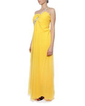 Snow White Diamante Sash Sweetheart Evening Gown - Goose Yellow