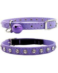 Doggie Hillfigher - Diamante Collar - Purple - Extra-Small