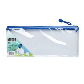 Meeco Clear Large (34cm) Pencil Bag - Blue Zip