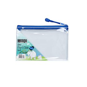 Meeco Clear Small (21cm) Pencil Bag - Blue Zip