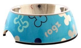 Rogz - Lapz Small 140x45mm 2-in-1 Bubble Bowl - Blue Bones Design