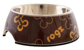 Rogz - Lapz Small 140x45mm 2-in-1 Bubble Bowl - Brown Bones Design