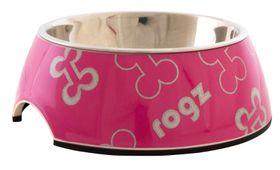 Rogz - 140x45mm Bubble Bowl - Pink Bones