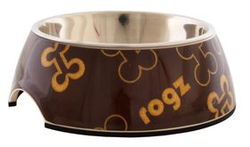 Rogz - Lapz Medium 175x65mm 2-in-1 Bubble Bowl - Brown Bones Design