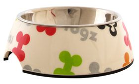 Rogz - Lapz Medium 175x65mm 2-in-1 Bubble Bowl - Multi Colour Bones Design