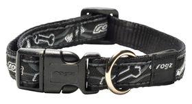 Rogz - Fancy Dress 16mm Dog Collar - Black Bone
