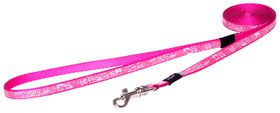 Rogz - Lapz Trendy Pink Bones Fixed Long Dog Lead - Extra Small