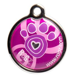 Rogz - ID Tagz 31mm Metal Tag - Pink Paws