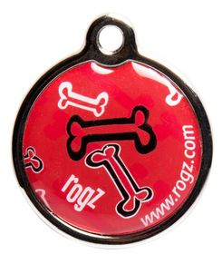 Rogz - ID Tagz 31mm Metal Tag - Red Rogz - Bone