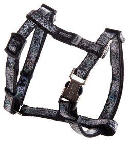 Rogz - 8mm Adjustable Dog H-Harness - Black Bone