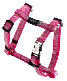 Rogz - 8mm Adjustable Dog H-Harness - Pink Bones